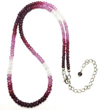 Load image into Gallery viewer, Ruby Variegated Faceted Gemstone Bead Strand Sterling Silver Necklace by Josephine Grasso