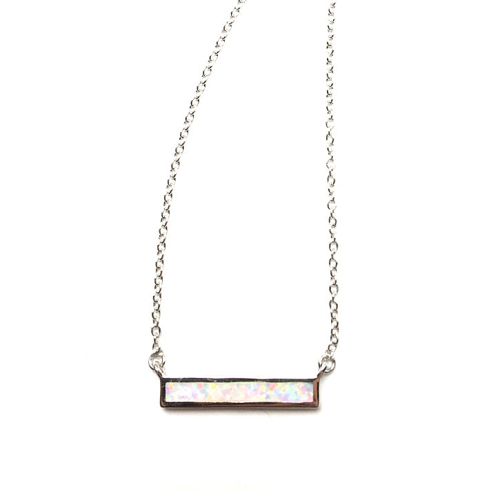 Gilson Opal Rainbow Fire Lab Created Gemstone Bar on Chain Sterling Silver Necklace