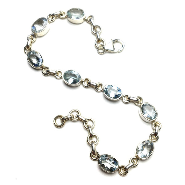 Aquamarine Ice Blue Gem Faceted Oval Natural Gemstone Sterling Silver Bracelet