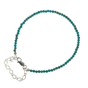 Kingman Turquoise Round Gemstone Bead Sterling Silver Bracelet by Josephine Grasso