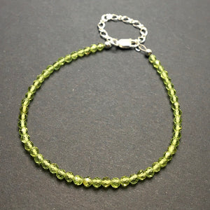 Peridot Faceted Gemstone Bead Sterling Silver Bracelet by Josephine Grasso