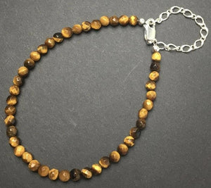 Tiger Eye Faceted Gemstone Bead Sterling Silver Bracelet by Josephine Grasso