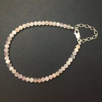 Morganite Faceted Gemstone Bead Sterling Silver Bracelet by Josephine Grasso
