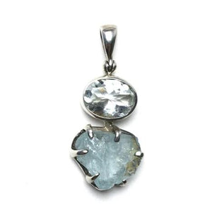 Aquamarine Ice Blue Gem Faceted Oval Raw Crystal Natural Gemstone Sterling Silver Pendant