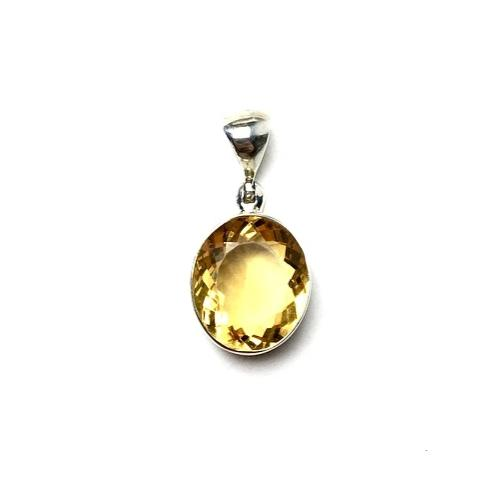Citrine Golden Yellow Gem Faceted Oval Natural Gemstone Sterling Silver Pendant