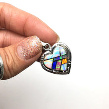 Load image into Gallery viewer, Gilson Opal Lab Created Rainbow Heart Shaped Gem Synthetic Sterling Silver Pendant