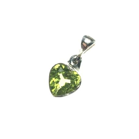 Peridot Lime Green Gem Faceted Heart Shaped Natural Gemstone Sterling Silver Pendant