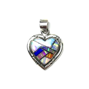 Gilson Opal Lab Created Rainbow Heart Shaped Gem Synthetic Sterling Silver Pendant