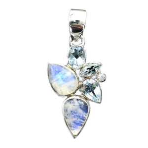 Moonstone Adularia Rainbow Blue Topaz Goddess Avalon Gemstone Sterling Silver Pendant