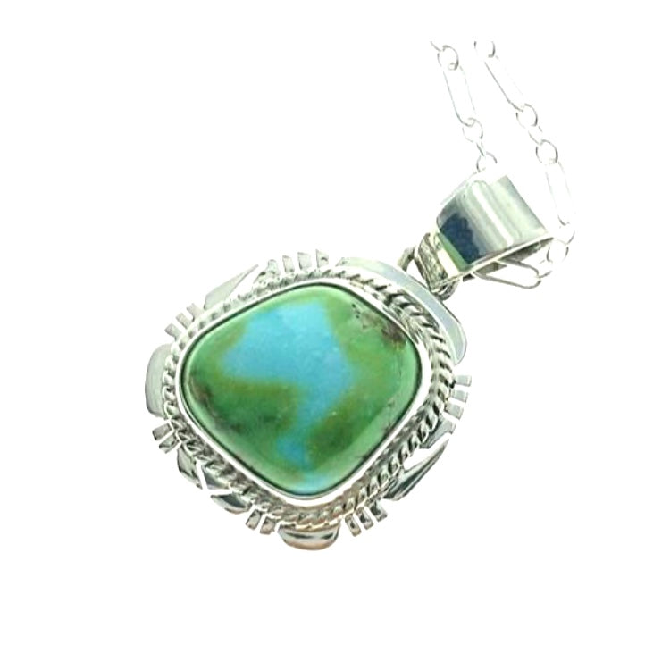 Sonoran Turquoise Natural Stone Sterling Silver Pendant on 18