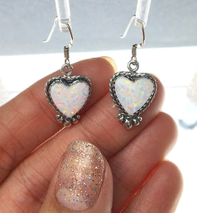 Gilson Opal Heart Shaped Lab Created Drop Sterling Silver Dangle Earrings