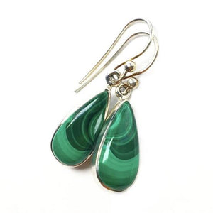 Malachite Banded Bright Green Gemstone in Sterling Silver Dangle Earrings