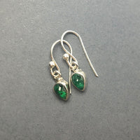 Emerald Green Gem Cabochon Teardrop Natural Gemstone Sterling Silver Dangle Earrings