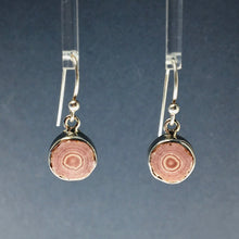 Load image into Gallery viewer, Rhodochrosite Soft Pink Stalactite Slice in Sterling Silver Dangle Earrings
