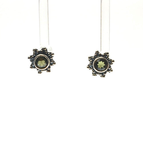 Moldavite Tektite Impact Space Glass Faceted Round Starburst Gems Sterling Silver Stud Earrings