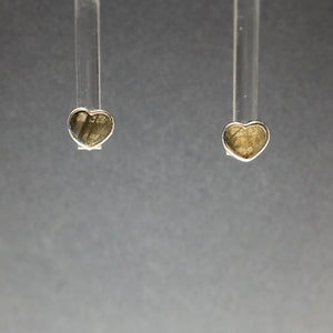 Labradorite Heart Shaped Polished Crystal Sterling Silver Stud Earrings