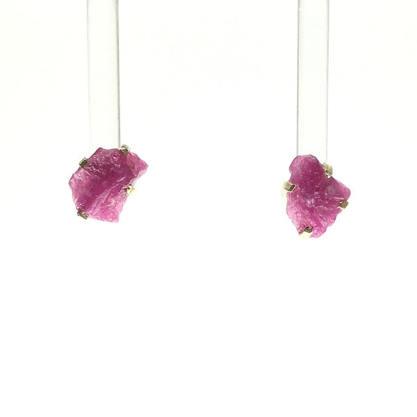 Ruby Dark Fuschia Pink Raw Crystal Sterling Silver Stud Earrings