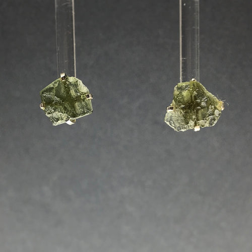 Moldavite Tektite Impact Space Glass Raw Gems Sterling Silver Stud Earrings