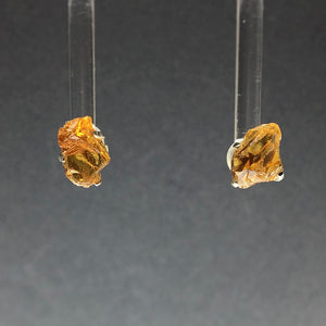 Citrine Golden Yellow Raw Crystal Sterling Silver Stud Earrings