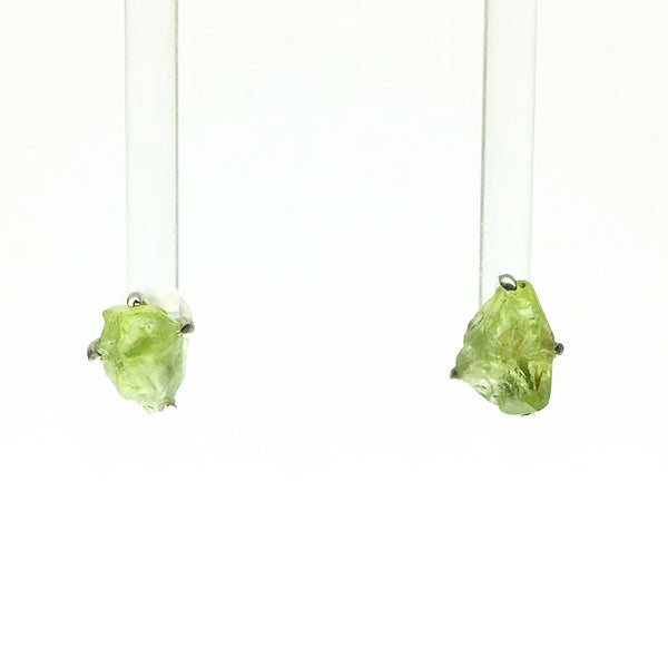 Peridot Lime Green Raw Crystal Sterling Silver Stud Earrings