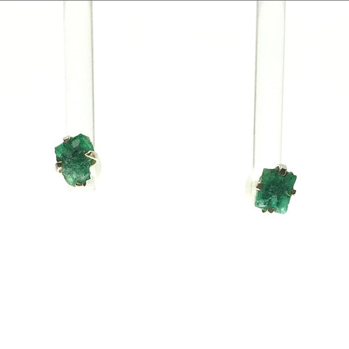 Emerald Dark Green Beryl Raw Crystal Sterling Silver Stud Earrings