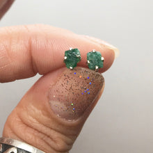 Load image into Gallery viewer, Emerald Dark Green Beryl Raw Crystal Sterling Silver Stud Earrings