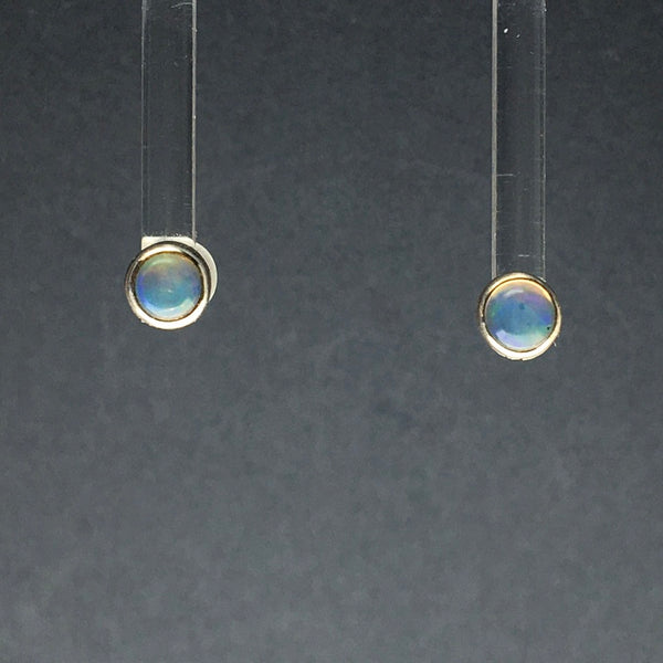 Ethiopian Opal Welo Rainbow Fire Cabochon Circle Sterling Silver Stud Earrings