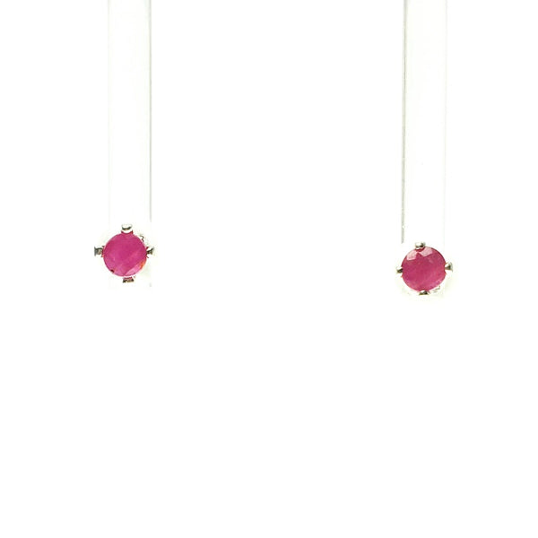 Ruby Dark Fuschia Pink Faceted Crystal Sterling Silver Stud Earrings
