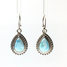 Load image into Gallery viewer, Larimar Blue Pectolite Caribbean Blue Gemstone in Sterling Silver Dangle Earrings
