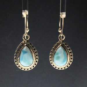 Larimar Blue Pectolite Caribbean Blue Gemstone in Sterling Silver Dangle Earrings