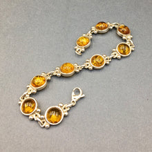 Load image into Gallery viewer, Amber Baltic Natural Gemstone Link Sterling Silver Bracelet