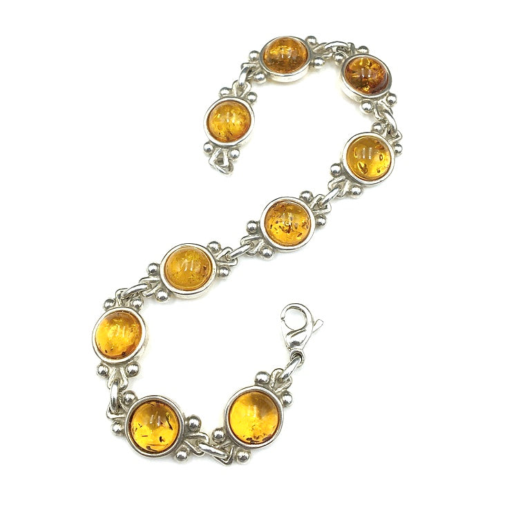 Amber Baltic Natural Gemstone Link Sterling Silver Bracelet