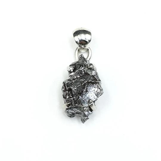 Meteorite Campo del Cielo Raw Rough Cut Gemstone Sterling Silver Pendant