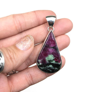 Ruby and Zoisite Natural Cabochon Cut Gemstone Sterling Silver Pendant