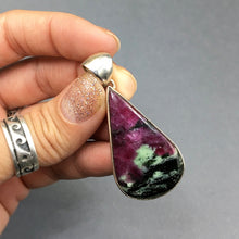 Load image into Gallery viewer, Ruby and Zoisite Natural Cabochon Cut Gemstone Sterling Silver Pendant