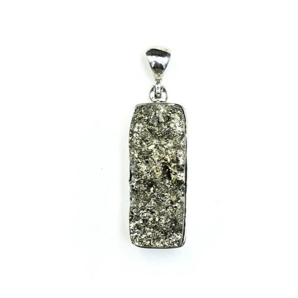 Pyrite Fool's Gold Raw Crystals Rough Cut Gemstone Sterling Silver Pendant
