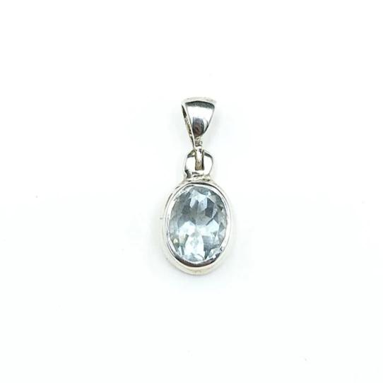 Aquamarine Ice Blue Gem Faceted Oval Crystal Natural Gemstone Sterling Silver Pendant