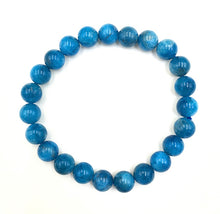 Load image into Gallery viewer, Blue Apatite Gemstone Bead Stretch Elastic Stone Bracelet