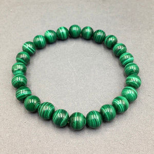 Malachite Gemstone Bead Stretch Elastic Stone Bracelet