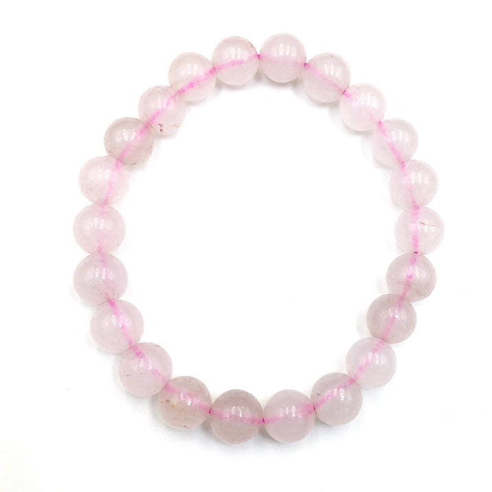 Rose Quartz Gemstone Bead Stretch Elastic Stone Bracelet