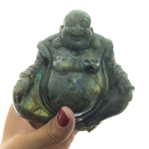 Labradorite Budai Hotei Laughing Buddha Handcarved Polished Carving Stone Art