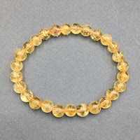 Citrine Gemstone Bead Stretch Elastic Stone Bracelet