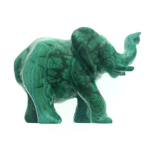 Load image into Gallery viewer, Malachite Elephant Green Swirls Natural Handcarved Polished Carving Stone Art African DRC