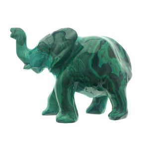 Malachite Elephant Green Swirls Natural Handcarved Polished Carving Stone Art African DRC