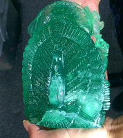 Green Fluorite Lord Ganesha Peacock XL Handcarved Polished Carving Stone Art