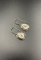 White Buffalo #7 Sterling Silver Dangle Earrings