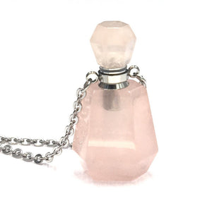 Rose Quartz Crystal Mini Bottle Gemstone Necklace for Essential Oil Perfume on Stainless Steel Chain