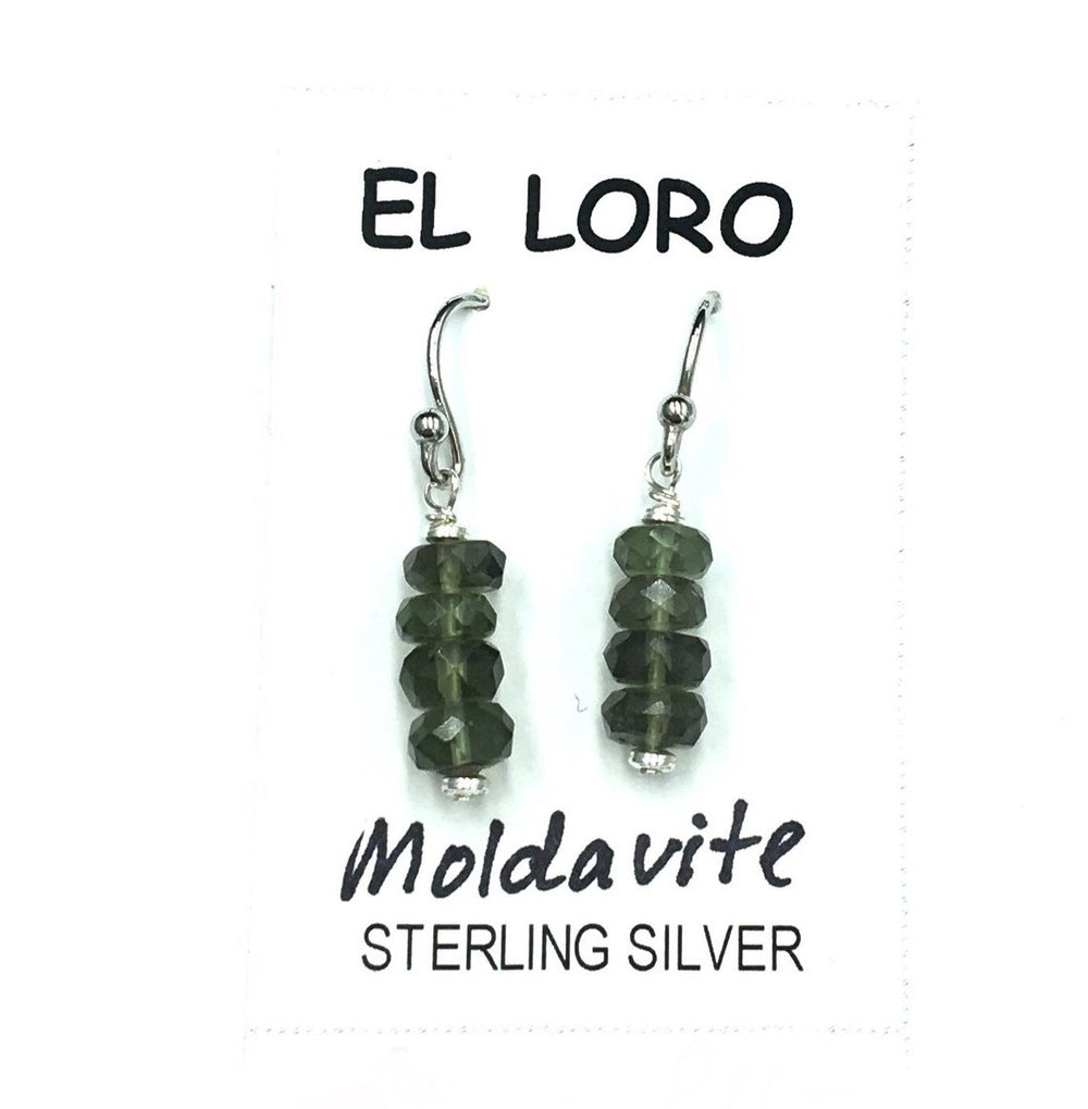 Moldavite Tektite Impact Space Glass Faceted Rondelle Gems Sterling Silver Drop Dangle Earrings