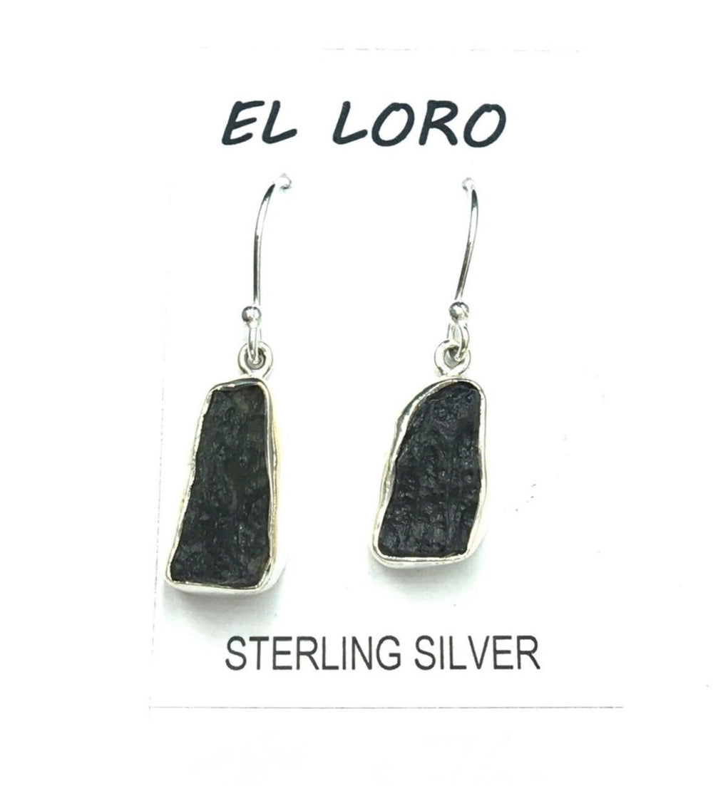 Moldavite Tektite Impact Space Glass Raw Gems Sterling Silver Drop Dangle Earrings