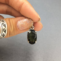 Moldavite Tektite Impact Space Glass Faceted Oval Sterling Silver Pendant